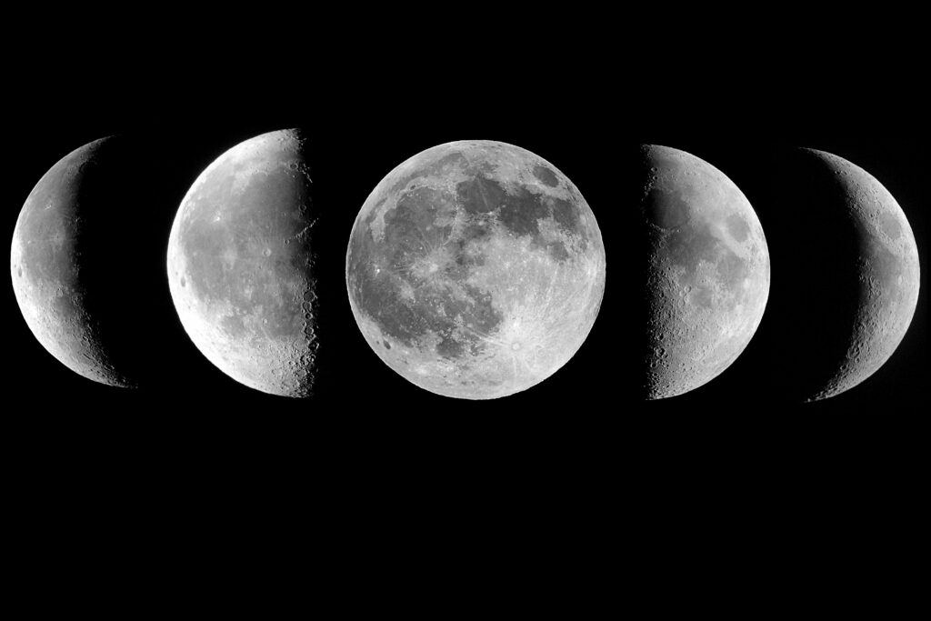 A mosaic of moon phases.