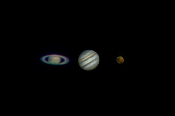 Saturn Jupiter and Mars mosaic