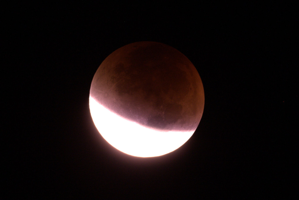 Lunar Eclipse from Somerset September 2015 2.49am. 1/6s at ISO 800. The shadow is moving quickly!