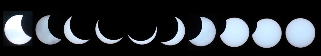 Mosaic of images from the Partial Solar Eclipse 2015