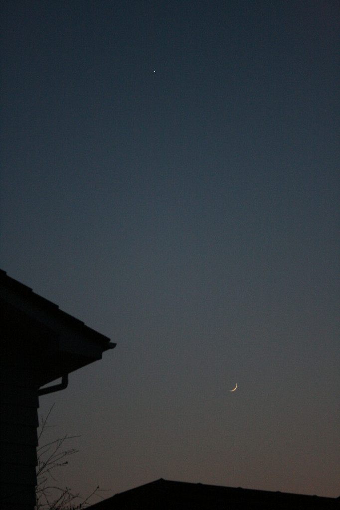 The Moon and Venus at dusk.