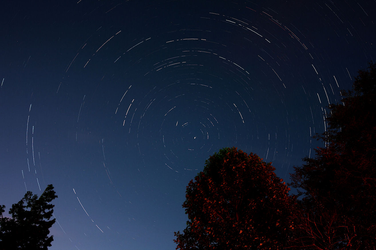 Startrails in August as a meteor skirts the pole.